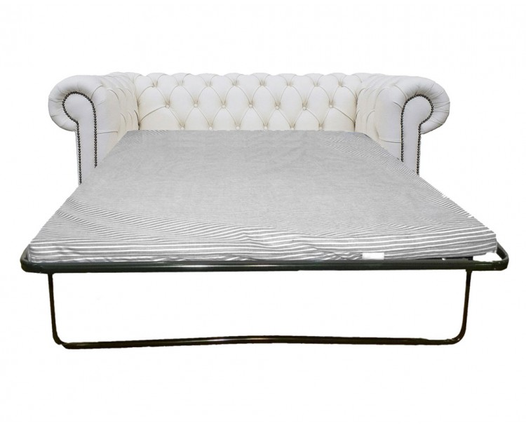 Chesterfield Genuine Leather Shelly White Two Seater Sofa Bed