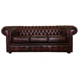 Chesterfield Three Seater Sofa Genuine Leather Antique Oxblood Red