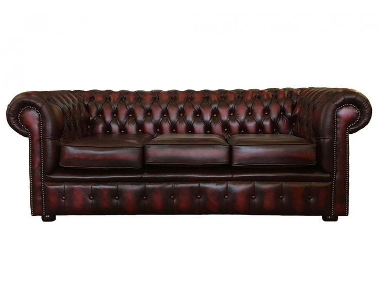 Chesterfield Real Leather Oxblood Red Three Seater Sofa