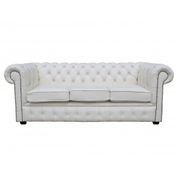 Chesterfield Three Seater Sofa 100% Genuine Leather Shelly White