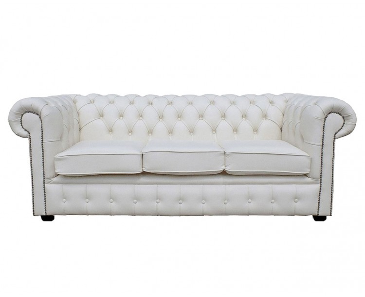 Chesterfield Genuine Leather Shelly White Three Seater Sofa