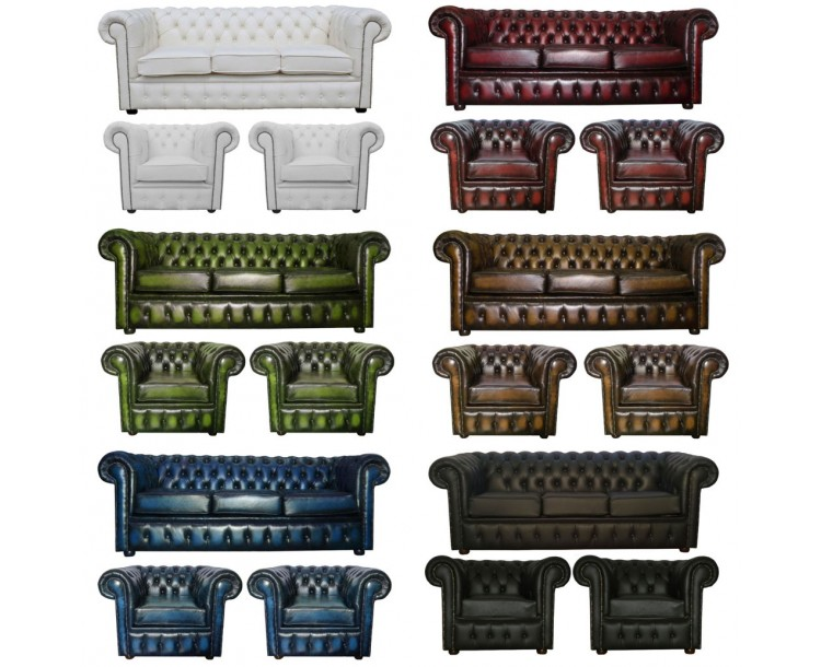 Chesterfield Real Leather 3 Seater & 2 Club Chair Suite