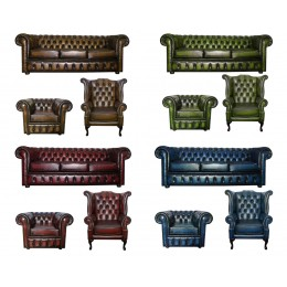 Chesterfield Genuine Leather Three Seater & Queen Anne & Club chair