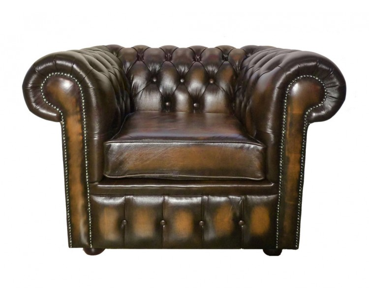 Chesterfield Genuine Leather Antique Brown Club Chair