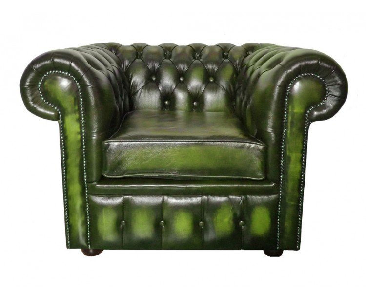 Chesterfield Genuine Leather  Antique Green Club Chair