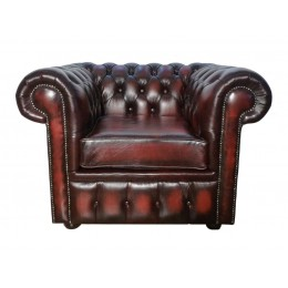 Chesterfield Club Chair 100% Genuine Leather Antique Oxblood Red