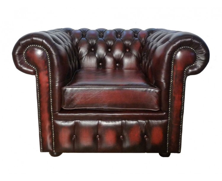 Chesterfield Genuine Leather Antique Oxblood Red Club Chair