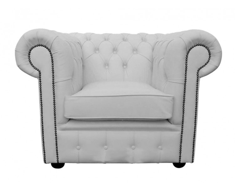 Chesterfield Genuine Leather Shelly White Club Chair