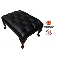 Chesterfield Queen Anne Footstool 100% Genuine Leather Shelly Black