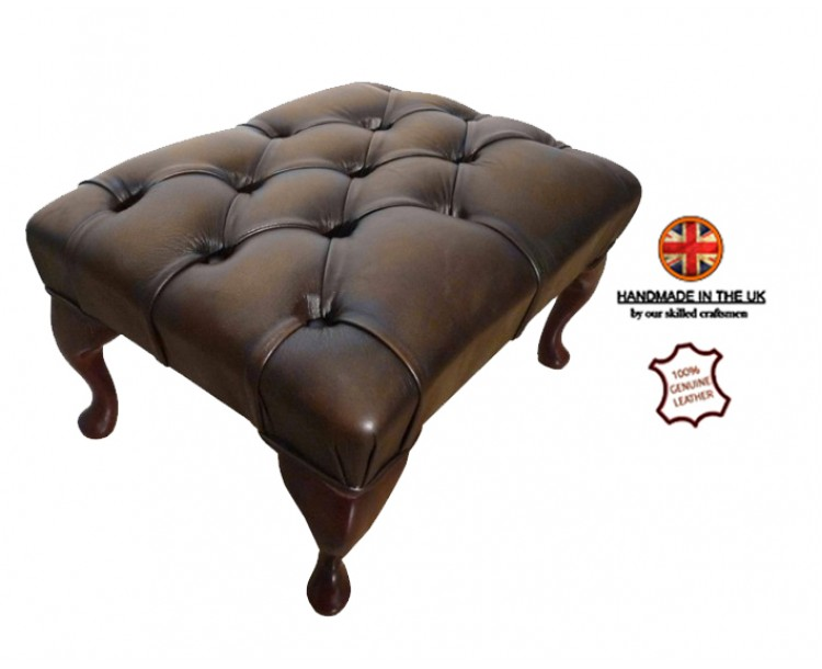 Chesterfield Queen Anne Footstool 100% Genuine Leather Antique Brown