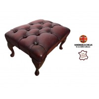 Chesterfield Queen Anne Footstool Genuine Leather Antique Oxblood Red