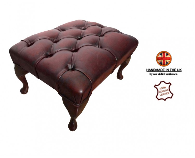 Chesterfield Queen Anne Footstool 100% Genuine Leather Antique Oxblood Red