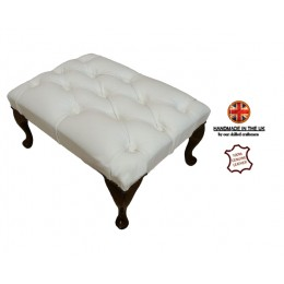 Chesterfield Queen Anne Footstool 100% Genuine Leather Shelly White