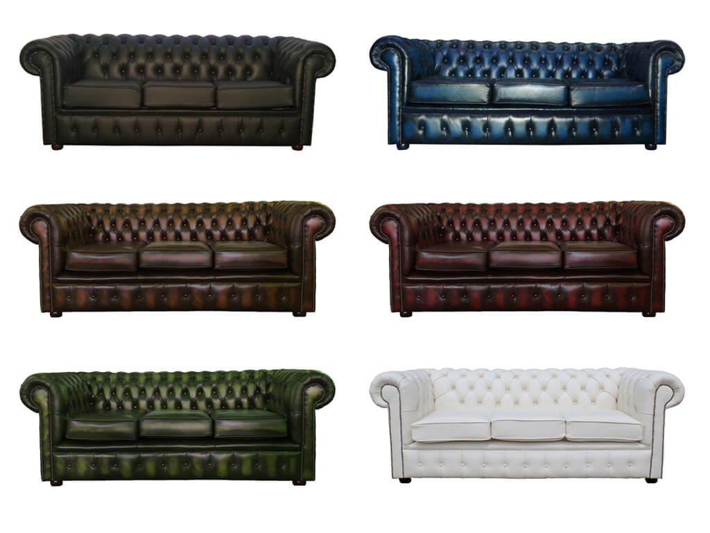 Chesterfield Genuine Leather Three Seater Sofa Collection