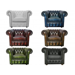 Chesterfield 100% Genuine Leather Club Chair Collection