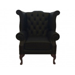 Chesterfield Queen Anne Armchair 100% Genuine Leather Shelly Black