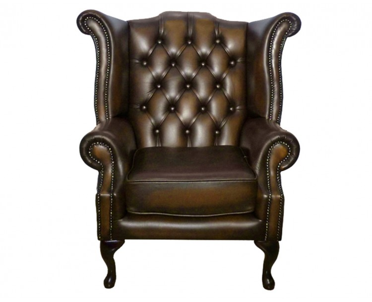 Chesterfield Genuine Leather Antique Brown Queen Anne Armchair