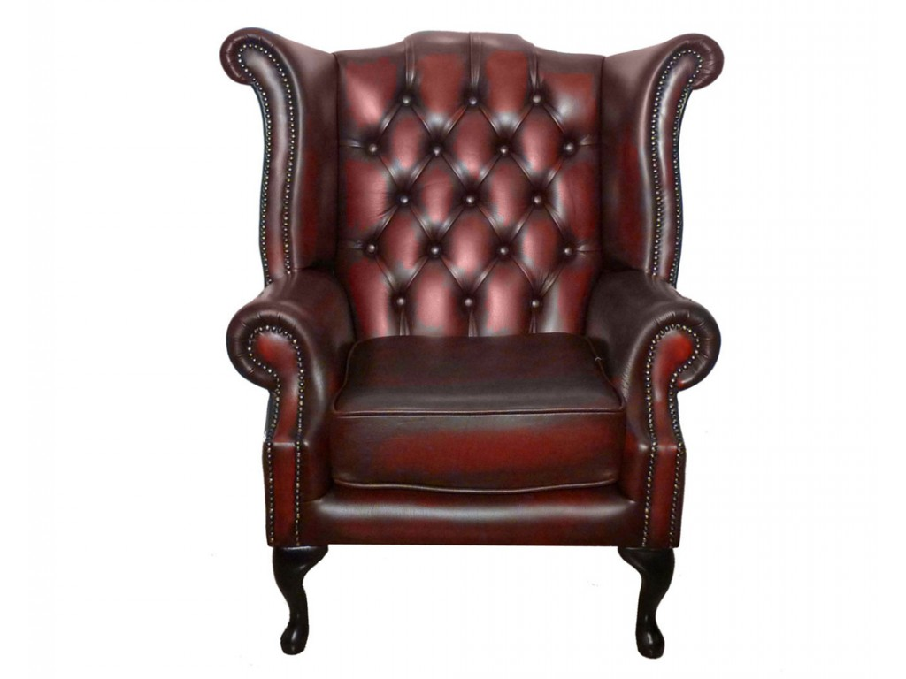 Chesterfield 100 Genuine Leather Queen Anne Chair Collection