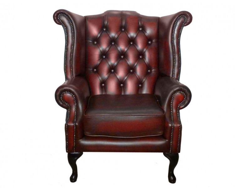 Chesterfield Oxblood Red Real Leather Queen Anne Armchair