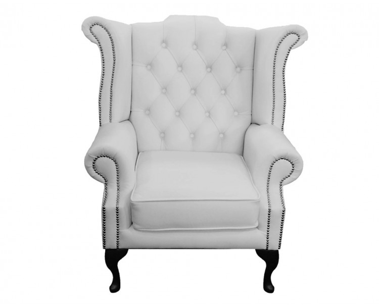 Chesterfield Genuine Leather Shelly White Queen Anne Armchair