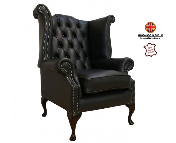 Chesterfield Genuine Leather  Shelly Black Queen Anne Armchair