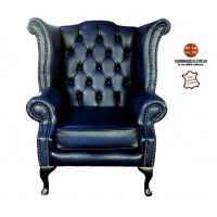 Chesterfield Queen Anne Armchair 100% Genuine Leather Antique Blue