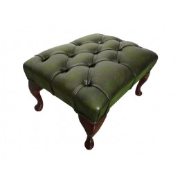 Chesterfield Queen Anne Footstool 100% Genuine Leather Antique Green