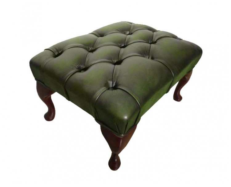 Chesterfield Genuine Leather Antique Green Queen Anne Footstool