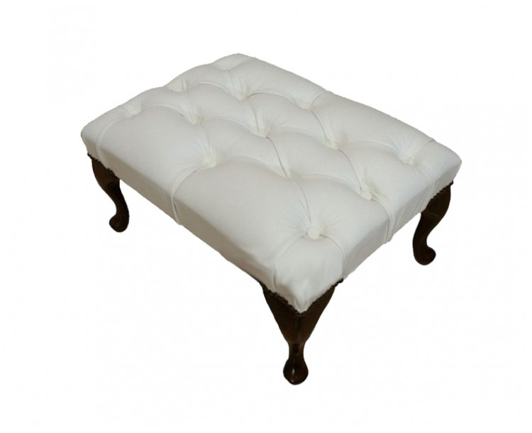 Chesterfield Genuine Leather Shelly White Queen Anne Footstool