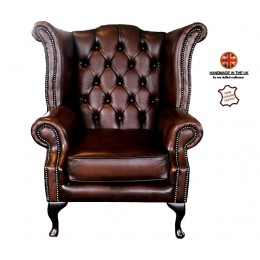 Chesterfield 100% Queen Anne Armchair Genuine Leather Antique Brown