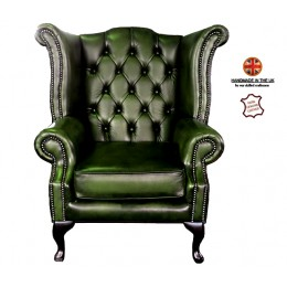 Chesterfield 100% Queen Anne Armchair Genuine Leather Antique Green