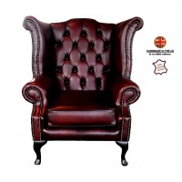 Chesterfield 100% Queen Anne Armchair Genuine Leather Antique Oxblood Red