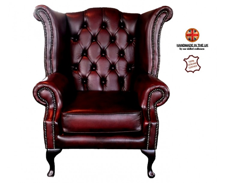 Chesterfield Queen Anne Armchair 100% Real Leather Antique Oxblood Red