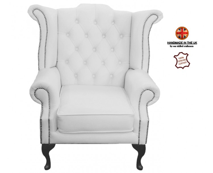 Chesterfield Queen Anne Armchair 100% Genuine Leather Shelly White