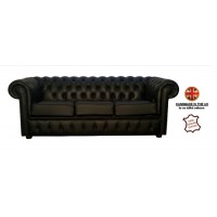 Chesterfield Three Seater 100% Genuine Leather Shelly Black