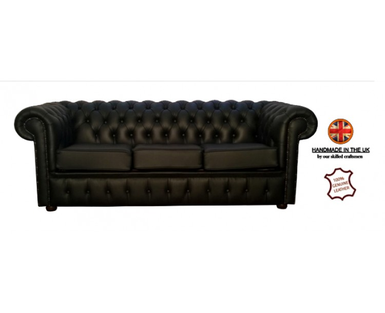 Chesterfield Genuine Leather Shelly Black Three Seater Sofa