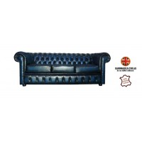 Chesterfield Three Seater 100% Genuine Leather Antique Blue