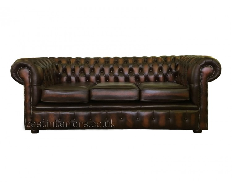 Chesterfield Three Seater Sofa 100% Genuine Leather Antique Brown