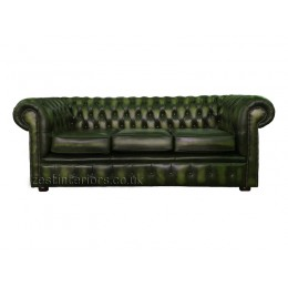 Chesterfield Three Seater Sofa 100% Genuine Leather Antique Green
