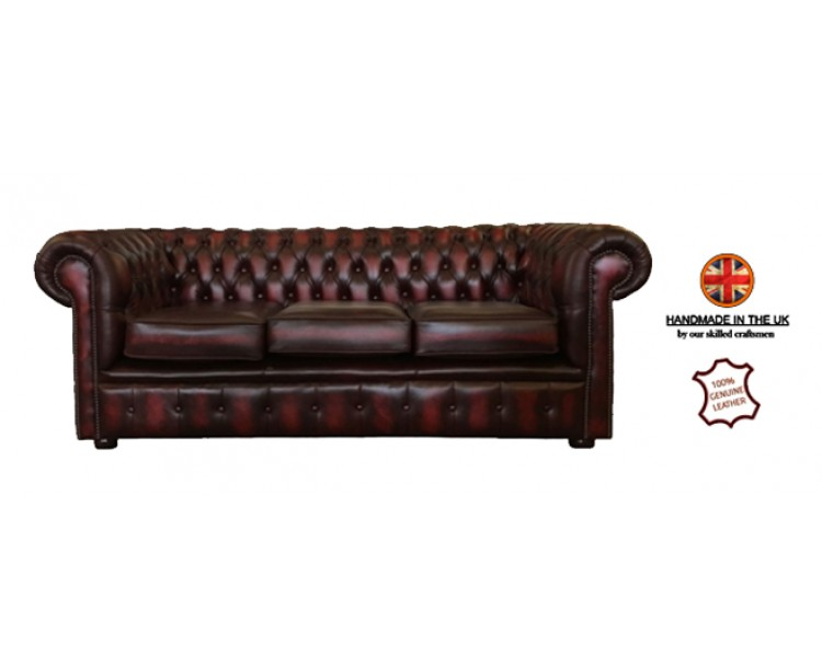 Chesterfield Three Seater Sofa 100% Genuine Leather Antique Oxblood Red