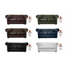 Chesterfield 100% Genuine Leather Two Seater Sofa Collection