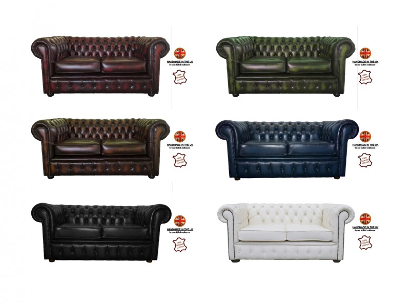 Chesterfield 100 Genuine Leather Two Seater Sofa Collection