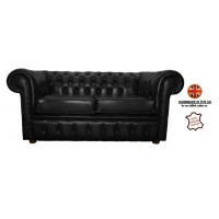 Chesterfield Two Seater Sofa 100% Genuine Leather Shelly Black