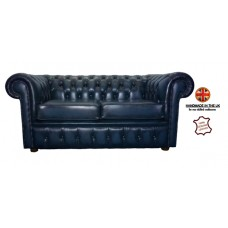 Chesterfield Two Seater 100% Genuine Leather Antique Blue