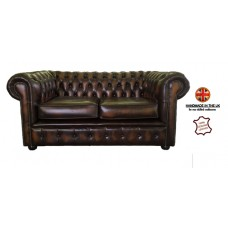 Chesterfield Two Seater 100% Genuine Leather Antique Brown