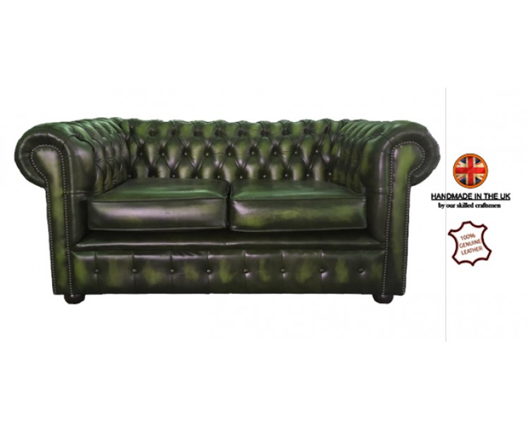 Chesterfield Two Seater 100% Genuine Leather Antique Green