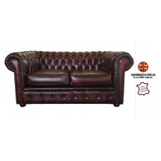 Chesterfield Two Seater 100% Genuine Leather Antique Oxblood Red