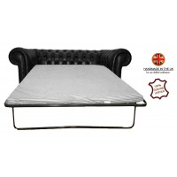 Chesterfield Two Seater Sofa Bed 100% Genuine Leather Shelly Black