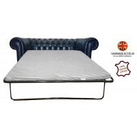 Chesterfield Two Seater Sofa Bed 100% Genuine Leather Antique Blue