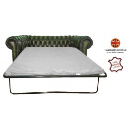 Chesterfield Two Seater Sofa Bed 100% Genuine Leather Antique Green